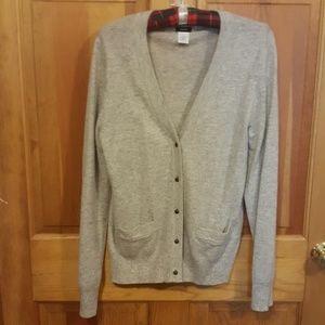 Sz L JCrew Grey Cardigan wool/cashmere sweater